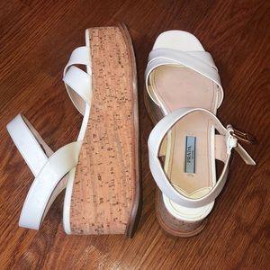 White Prada platform sandals